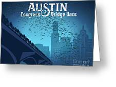Austin Congress Bridge Bats In Blue Silhouette Greeting Card