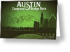 Austin Congress Bridge Bats In Green Silhouette Greeting Card