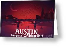 Austin Congress Bridge Bats In Red Silhouette Greeting Card