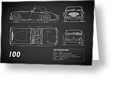 Austin Healey 100 Blueprint - Black Greeting Card