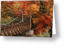 Autumn Across The Bridge  Greeting Card