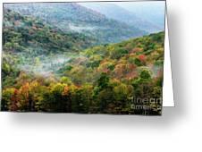 Autumn Hillsides With Mist Greeting Card