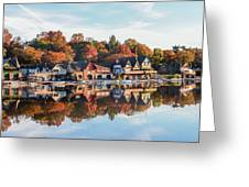 Autumn Houses On The Water Greeting Card