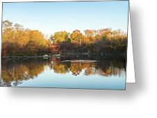 Autumn Mirror - Silky Wavelets Caused By Ducks Greeting Card
