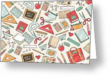 Back To School Seamless Pattern With Greeting Card