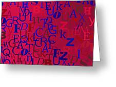 Background With Letters Over Purple Backlight Greeting Card