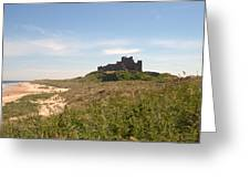 Bamburgh Castle And Beach In Summer Greeting Card
