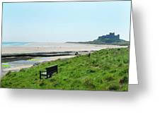 Bamburgh Castle And Beach Greeting Card