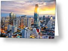 Bangkok City At Sunset, Mahanakorn Greeting Card