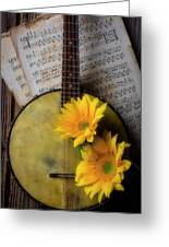 Banjo And Two Sunflowers Greeting Card