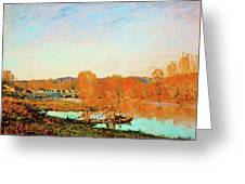 Banks Of The Seine Near Bougival - Digital Remastered Edition Greeting Card