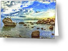 Bansai Rock, Lake Tahoe, Nevada, Panorama Greeting Card