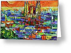 Barcelona Orange View - Sagrada Familia View From Park Guell - Abstract Palette Knife Oil Painting Greeting Card