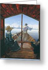Barge Trip On The Elbe Near Dresden, Morning On The Elbe, 1827 Greeting Card