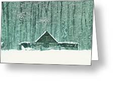 Barn In Snowfall Greeting Card