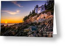 Bass Harbor Lighthouse At Sunset, In Greeting Card