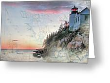 Bass Harbor Lighthouse On A Chart Greeting Card