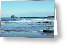 Bass Rock And Beach At North Berwick Greeting Card