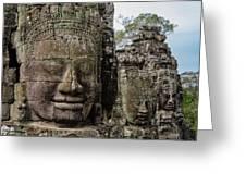 Bayon Faces, Angkor Wat, Cambodia Greeting Card