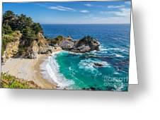 Beach And Falls, Julia Pfeiffer Beach Greeting Card