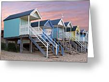 Beach Huts Sunset Greeting Card