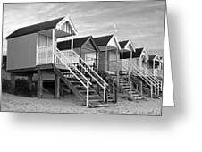 Beach Huts Sunset In Black And White Greeting Card