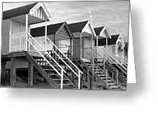 Beach Huts Sunset In Black And White Square Greeting Card