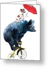 Bear And Dog Circus Show Illustration Greeting Card