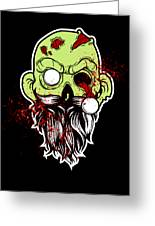 Bearded Zombie Undead With Beard Halloween Party Dark Greeting Card