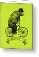 Bears On Bicycles - Lime Greeting Card