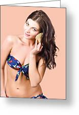 Beautiful Beach Babe Over Studio Background Greeting Card