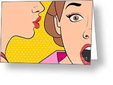 Beautiful Retro Woman Whispering A Greeting Card