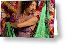 Beautiful Woman Surrounded By Flowers Greeting Card by Dennis Dame