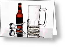 Beer Bottle And Glasses Greeting Card