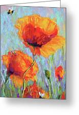 Bees And Poppies Greeting Card
