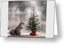 Believe Christmas Tree Squirrel Square Greeting Card