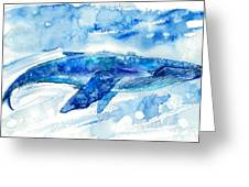 Big Blue Whale And Water.watercolor Greeting Card