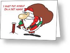 Big Fat Santa And Tiny Chimney Greeting Card