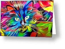 Big Whiskers Cat Greeting Card by Don Northup