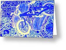 Biking Blue Greeting Card