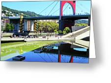 Bilbao Reflections Greeting Card by Rick Locke