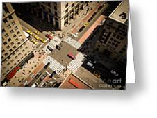 Birds Eye View Of Manhattan, Looking Greeting Card