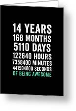 Birthday Gift T Shirt 14 Years Old Being Awesome Greeting Card