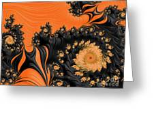 Black And Orange  Swirls Greeting Card