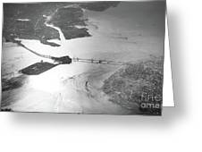 Black And White Aerial View Of Downtown San Francisco With Sun R Greeting Card