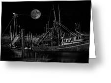 Black And White Art Fishing Boat And Full Moon Greeting Card