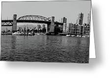black and white panorama of Vancouver from plaza of nations showing the beautiful city Greeting Card