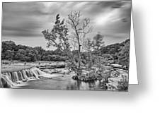 Black And White Photograph Of Link Falls At Bull Creek District Park Greenbelt - Austin Texas Greeting Card