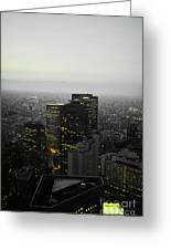 Black And White Tokyo Skyline At Night With Vibrant Selective Yellow Colors Greeting Card
