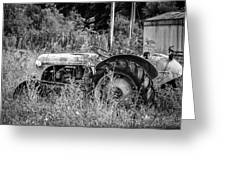 Black And White Tractor Greeting Card